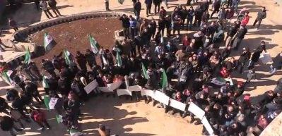 Azez'de Türkiye'ye destek eylemi