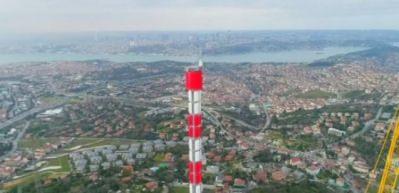 Çamlıca Kulesi'nde anten yükselmeye başladı