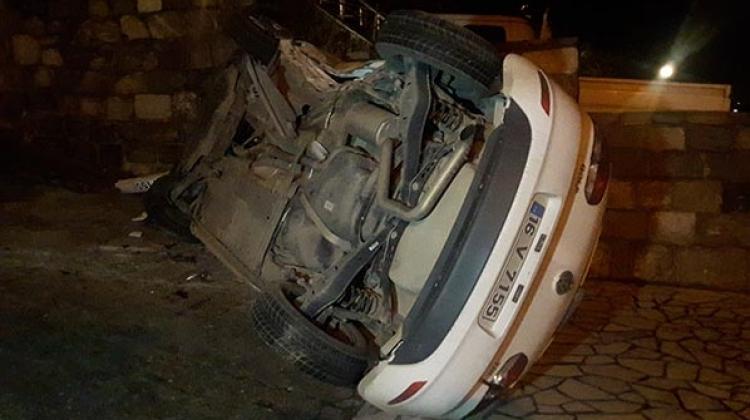 Bursa'da otomobil takla attı: 2 yaralı