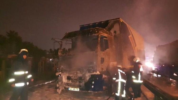 TEM Otoyolu'nda kamyon yangını