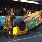 Aracı takla attı, taksicinin isteği şaşırttı!