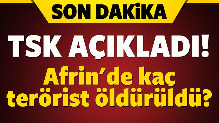 Afrin'de kaç terörist öldürüldü? TSK açıkladı