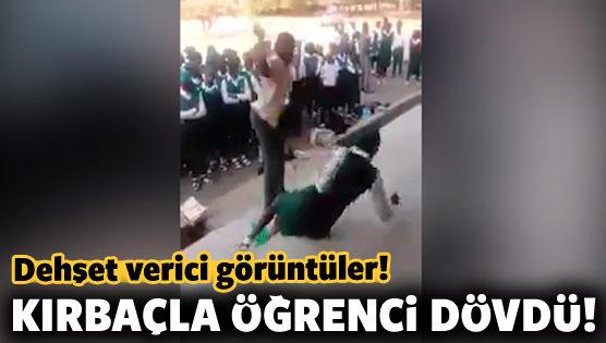 Dehşet verici görüntüler! Kırbaçla öğrenci dövdü